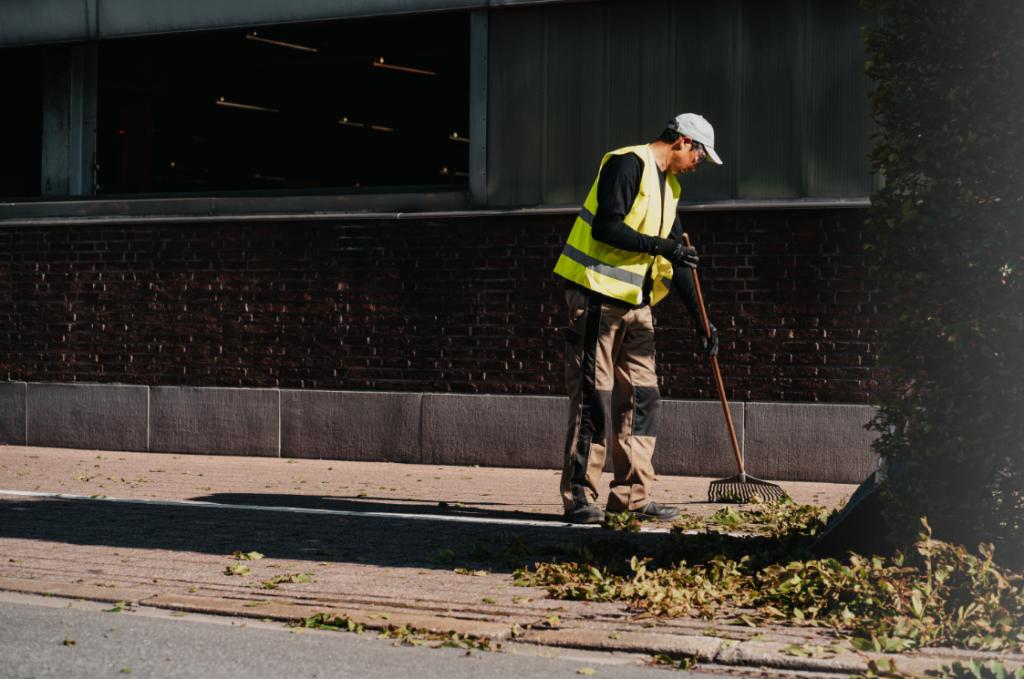 Parking onderhoud : Green Masters verwijdert de bladeren die in de herfst van de bomen vallen